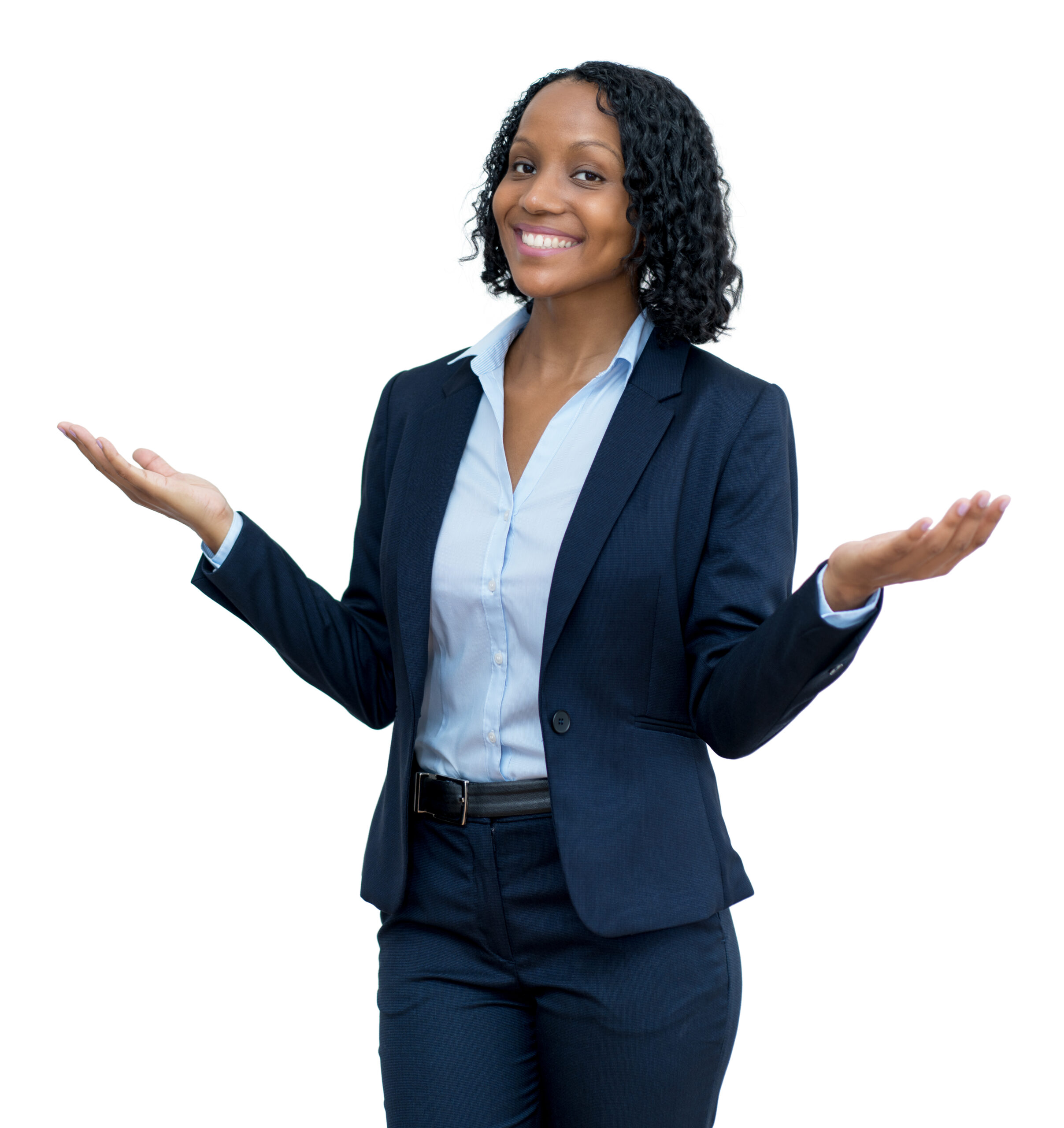Laughing mature adult afro american businesswoman